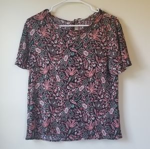 Pink and Teal Floral Top